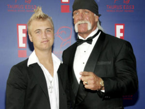 Nick Hogan and his father, Hulk Hogan at the World Stunt Award, car crash