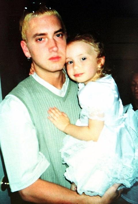 Eminem and Hailie as a baby