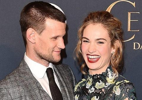 Lily James with her boyfriend, Matt Smith