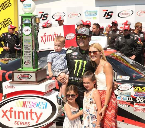Sam Hornish Jr. with his wife and children