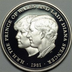 The wedding of Charles and Diana commemorated on a 1981 British Crown